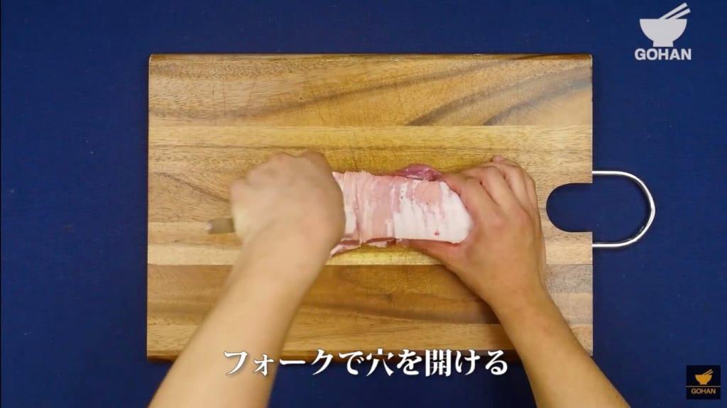 フォークで肉を刺している