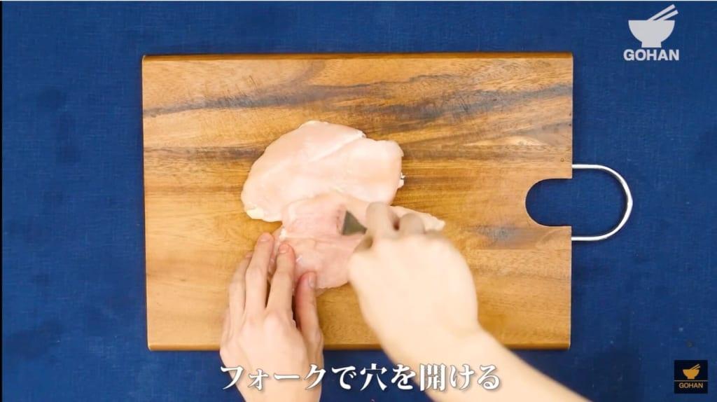 肉にフォークを刺している