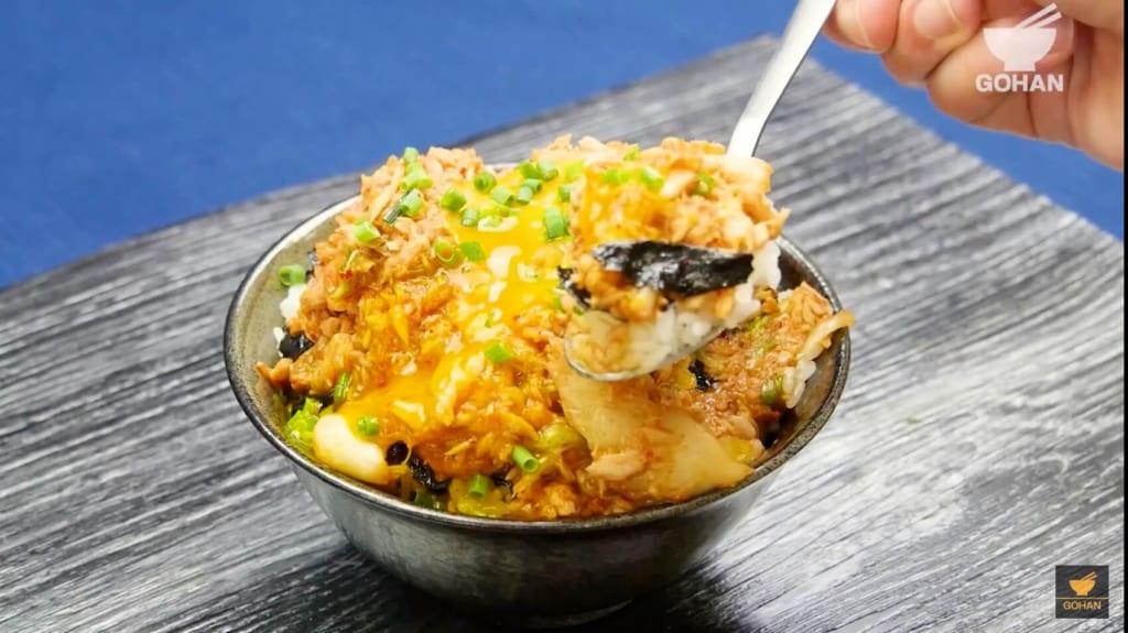 ツナとキムチの丼料理