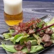 砂肝とビール