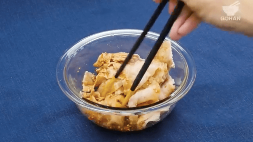豚しゃぶのレンチンレシピ