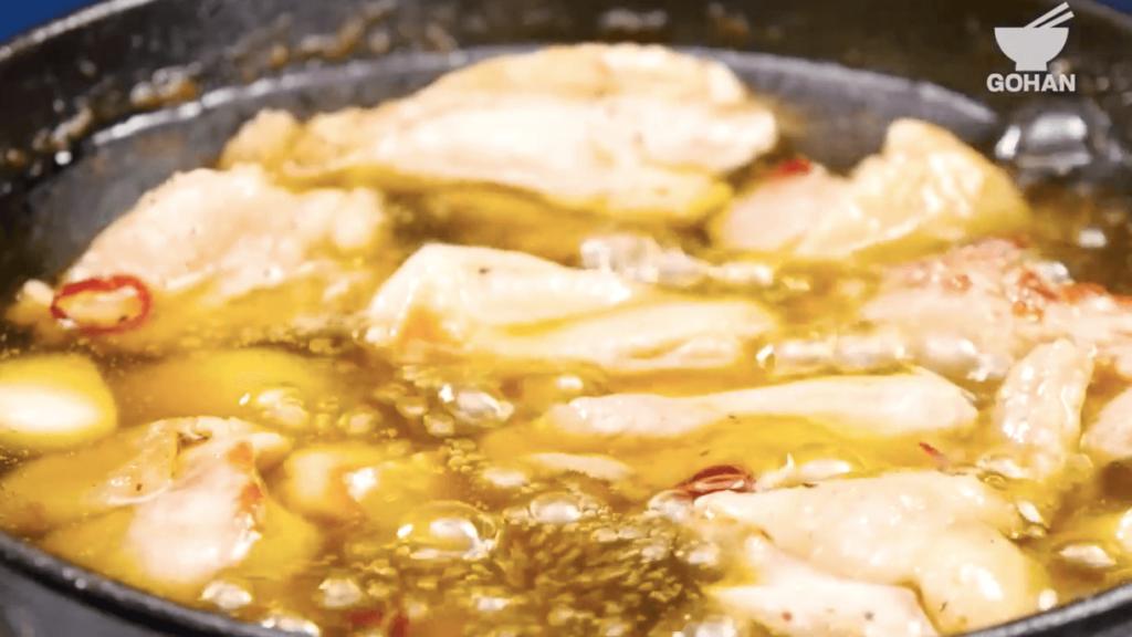 鶏肉のアヒージョレシピ