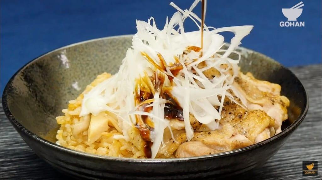 鶏肉と白ネギの丼レシピ