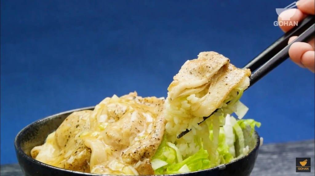 豚ロースとレタスの丼レシピ