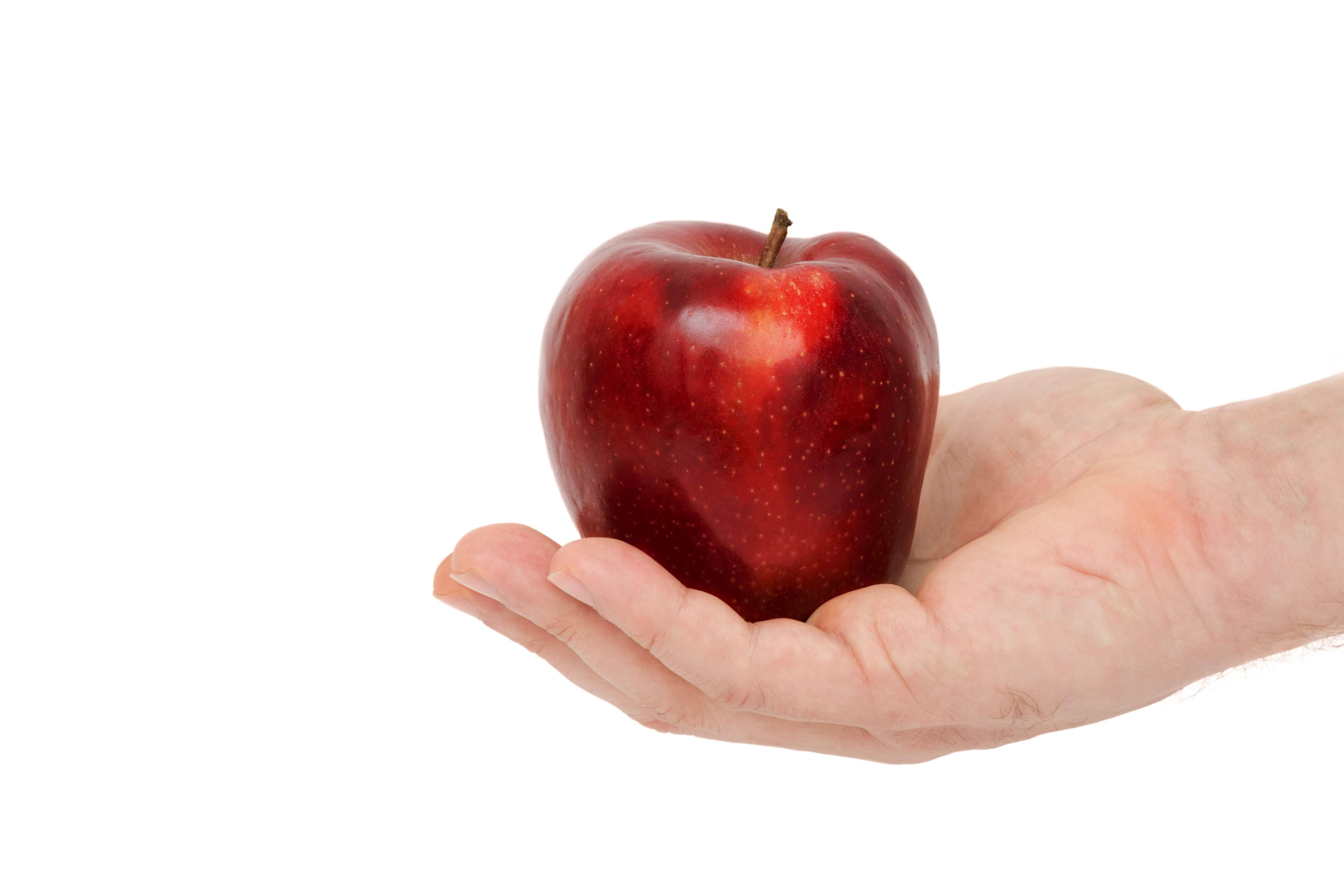 手に持ったリンゴ