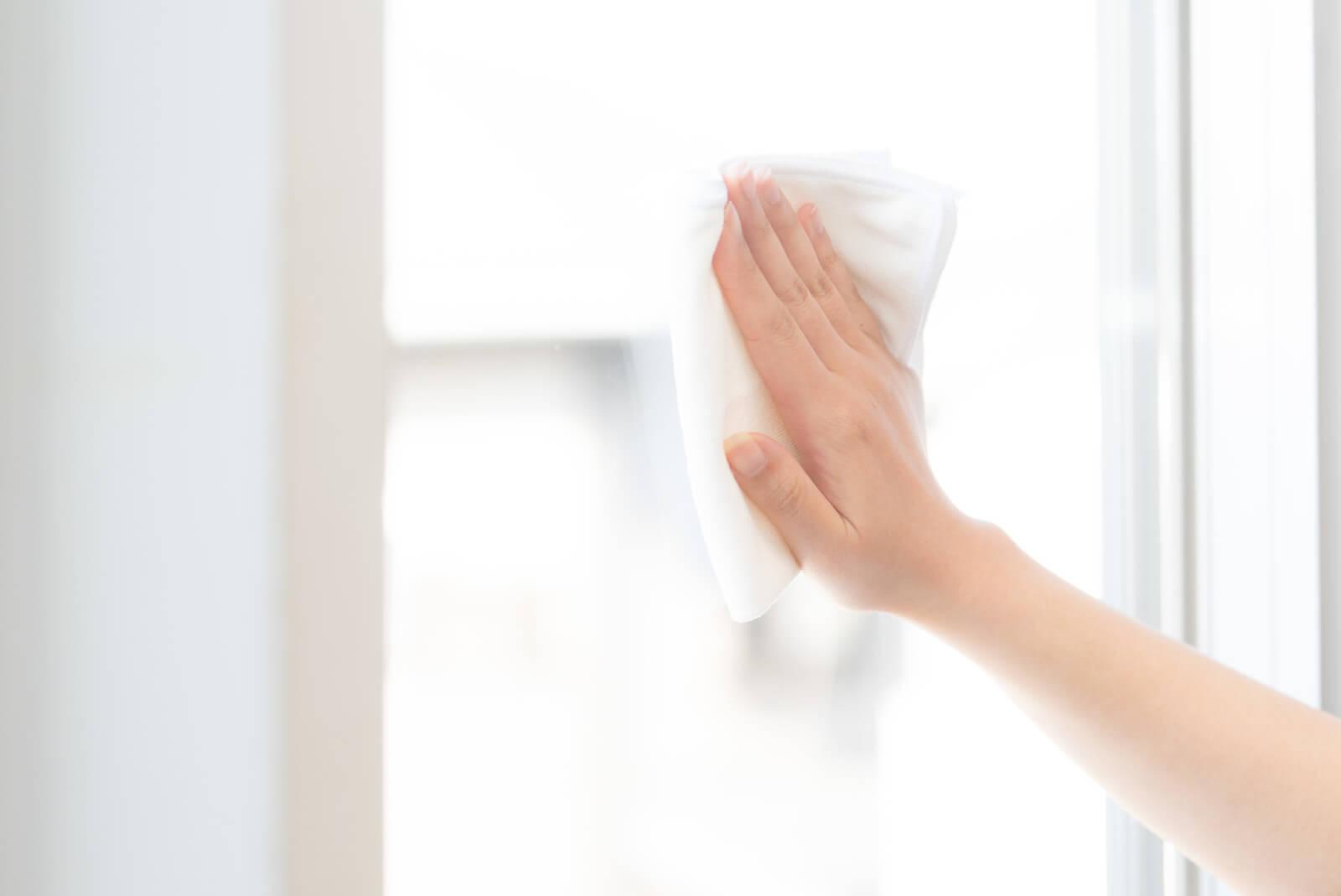 掃除(窓拭きをしている)