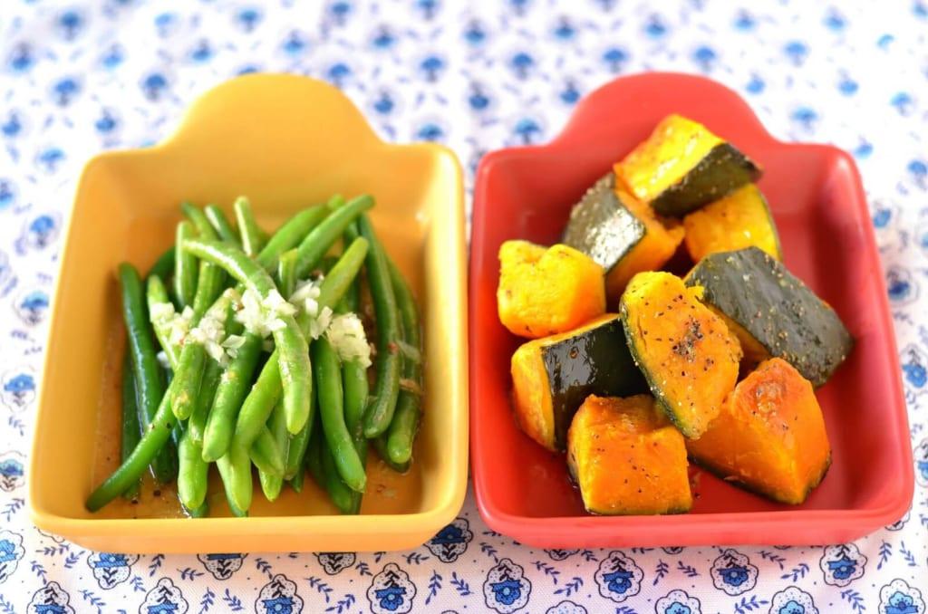 調理されたかぼちゃとインゲン豆